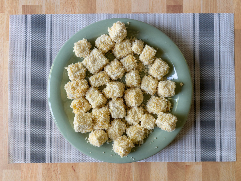 Air fried panko tofu - before cooking