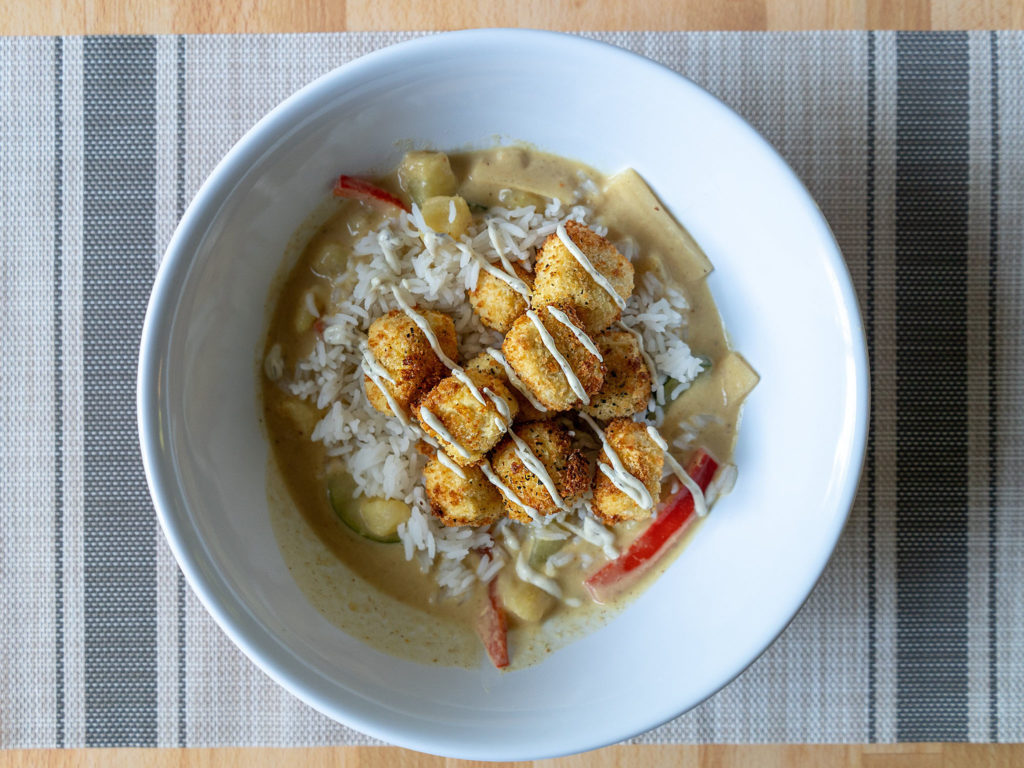 Air fried panko tofu - yellow curry