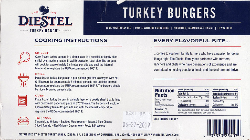 Diestel Turkey Burgers packaging back