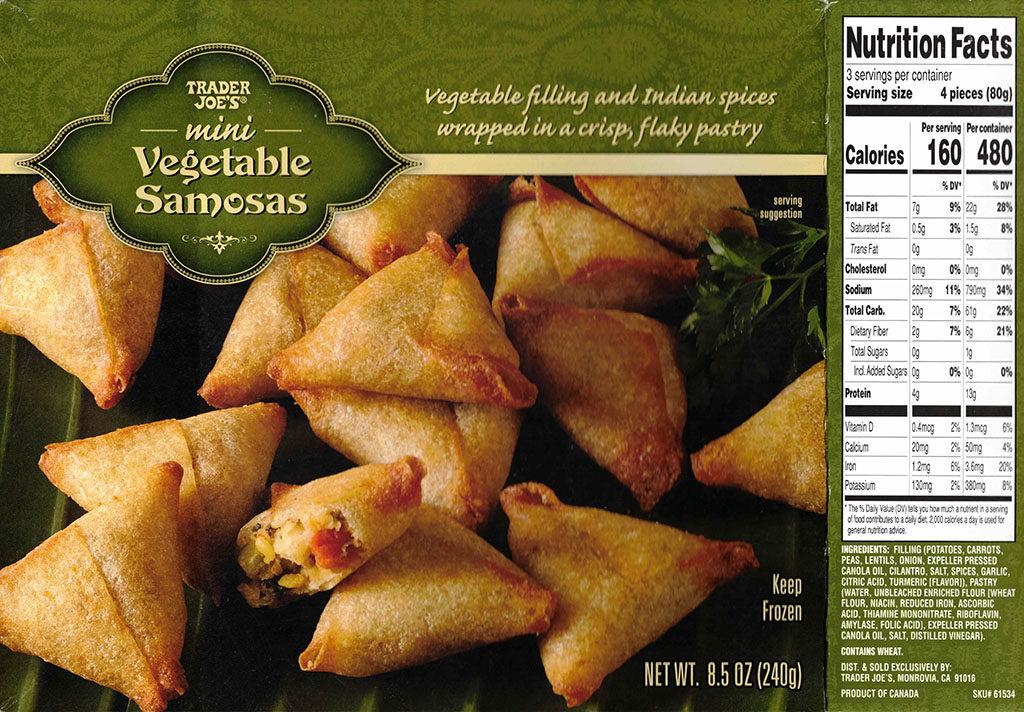 Trader Joes Mini Vegetable Samosa nutrition