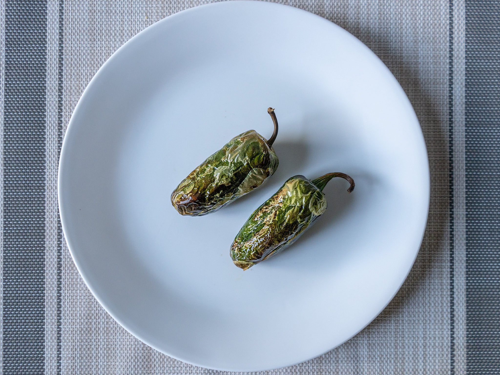 Air fried roasted and charred jalapenos