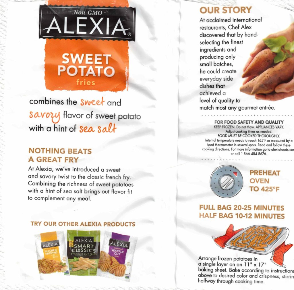 Alexia Sweet Potato Fries package rear