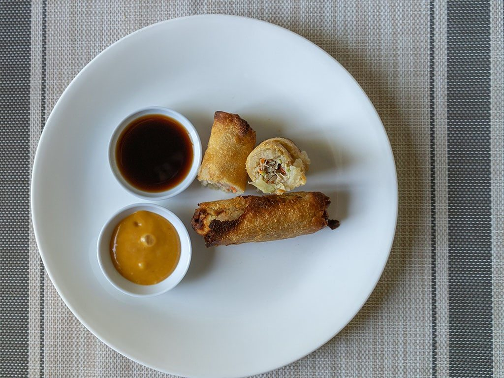 Tai Pei Chicken Egg Rolls. air fried interior