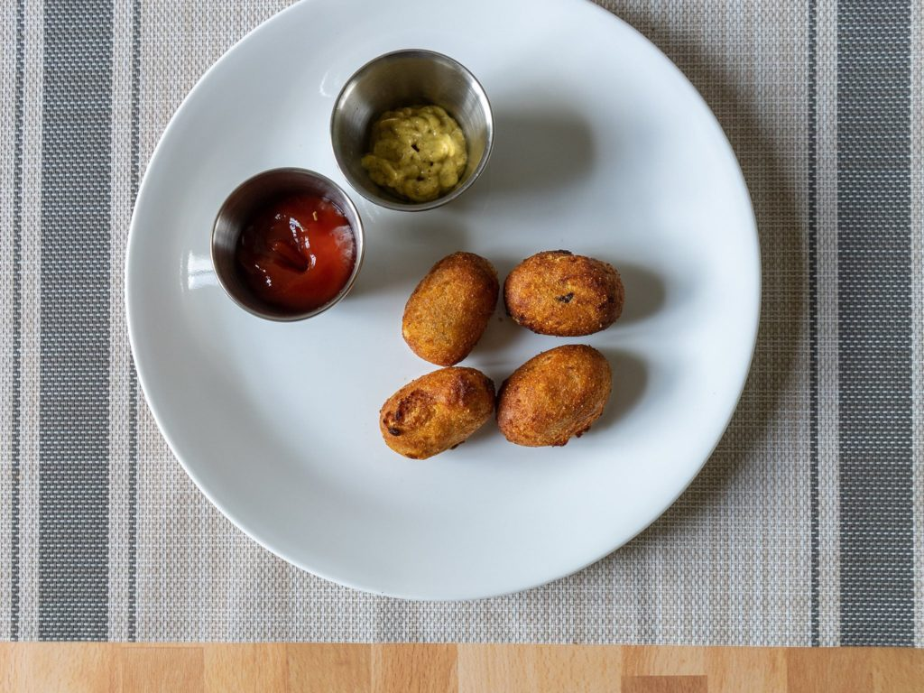 Air fried Field Roast Miniature Corn Dogs