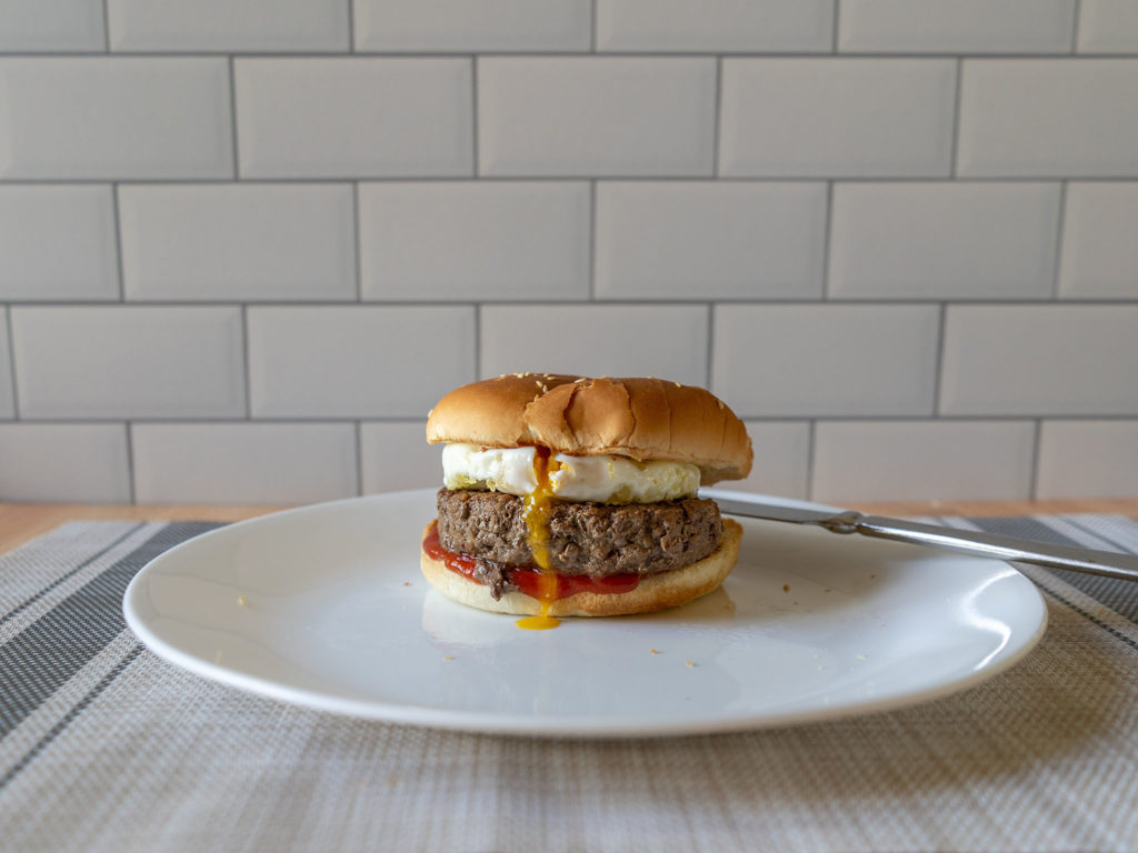 Air fried baked egg on burger