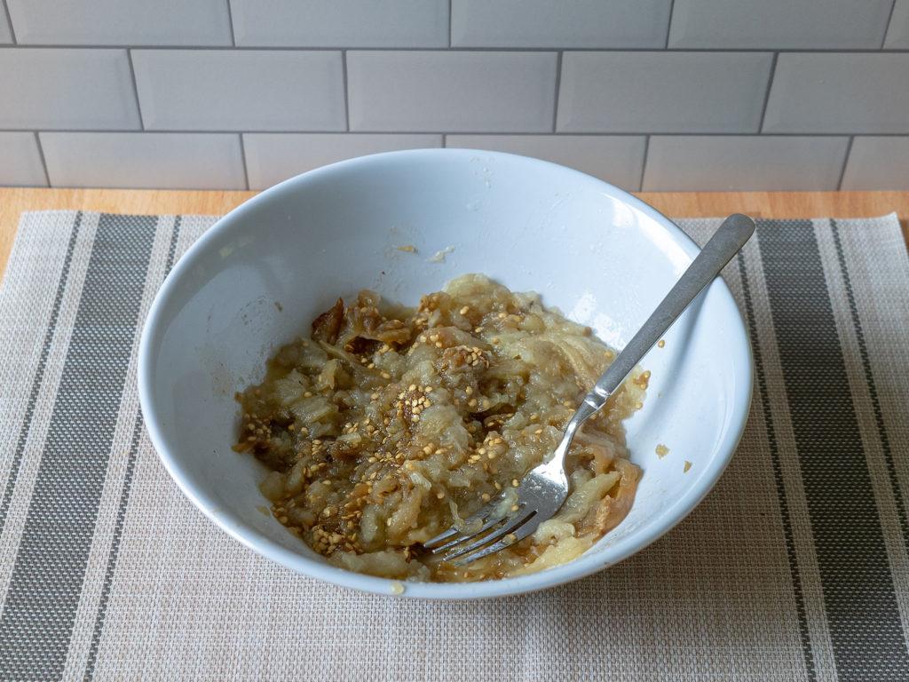 Air fried roasted eggplant mashed