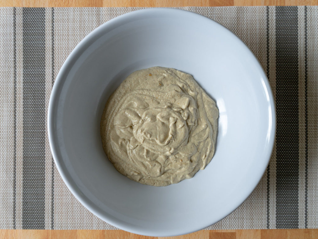 Baba ghanoush with air fried eggplant