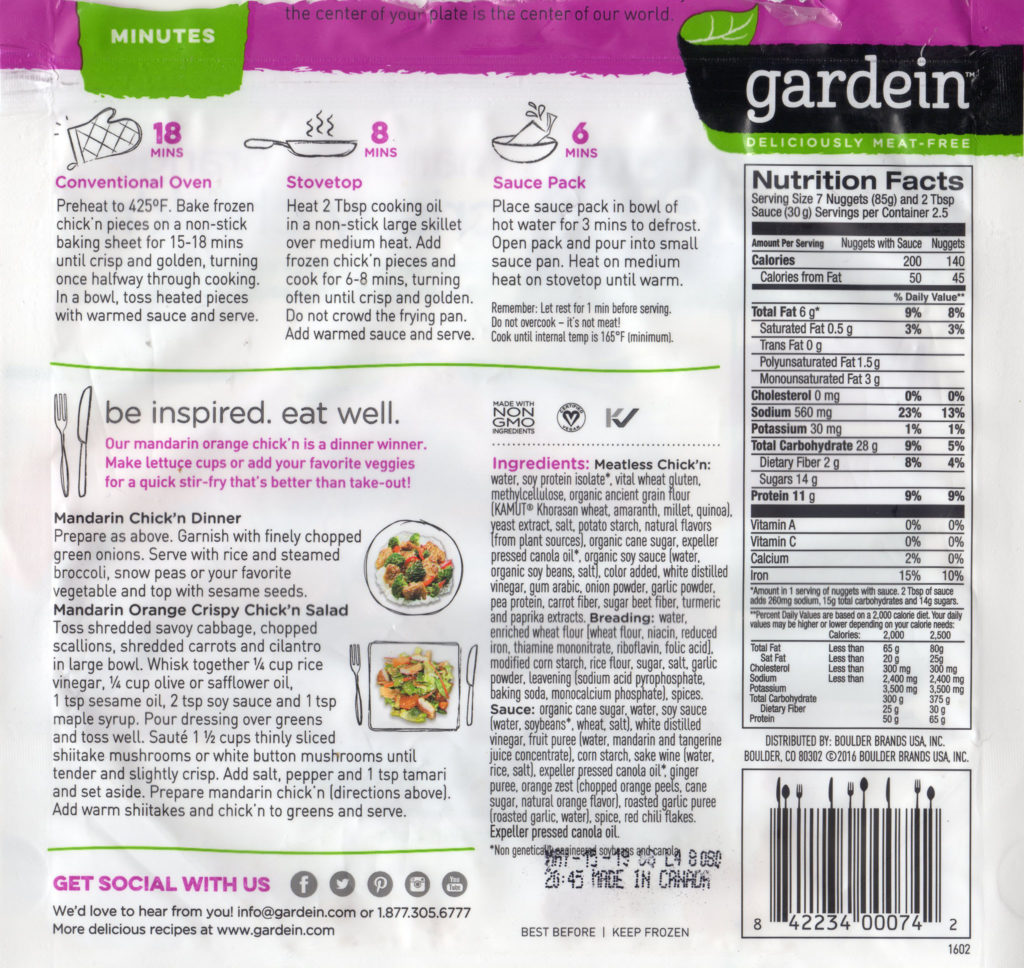 Gardein Mandarin Orange Crispy Chick'n package back