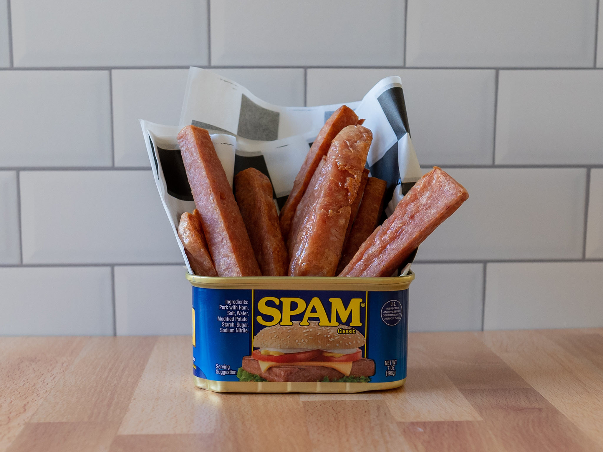 Air fried spam fries in can close up