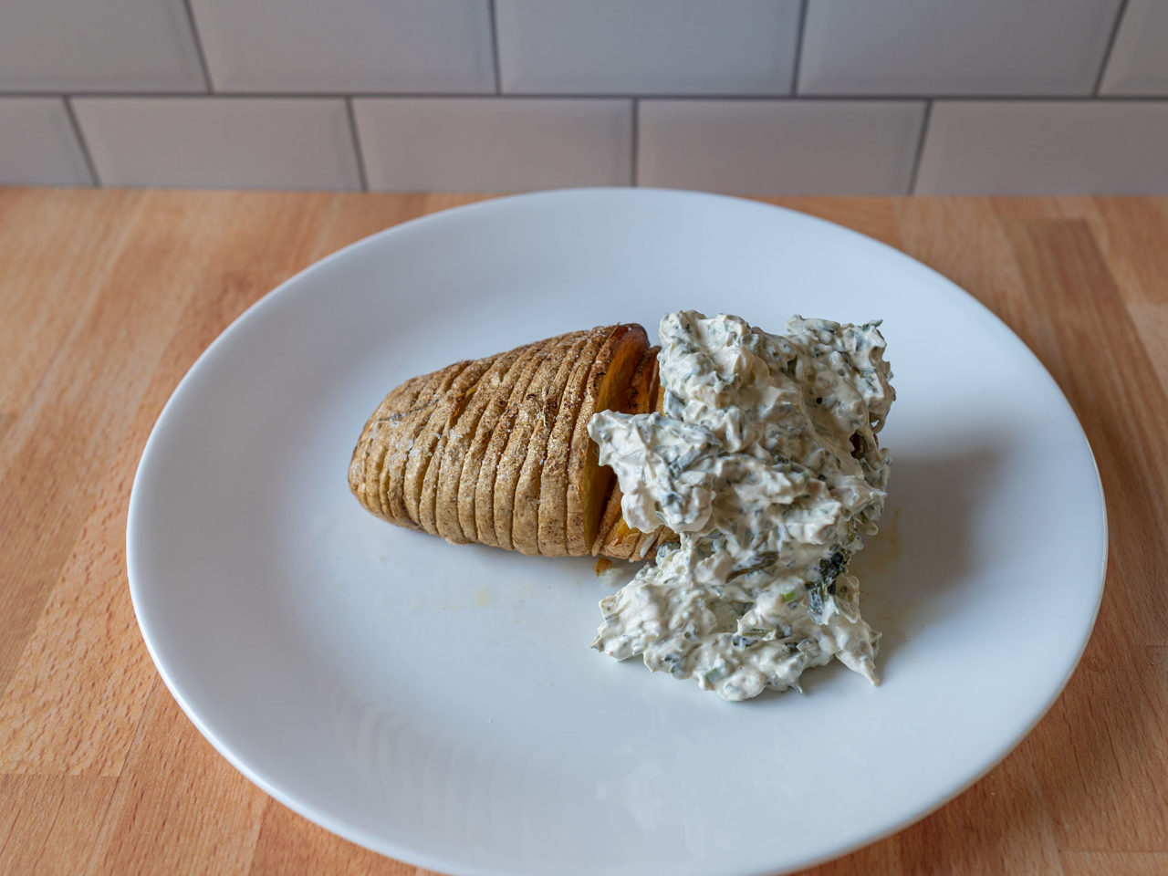 Air fried Hasselback potatoes with spinach dip