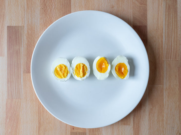 Air fried hard and soft boiled eggs
