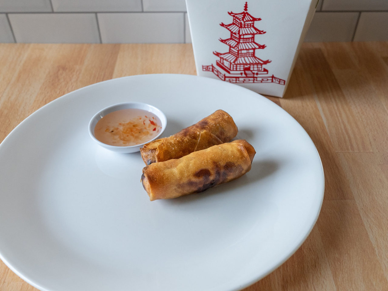 Air fried reheated spring rolls