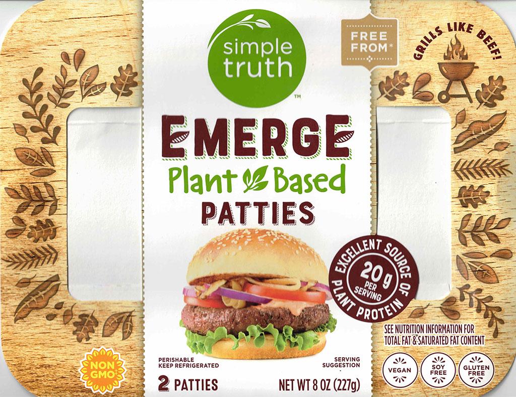 Simple Truth Emerge Plant Based patties ingredients package front