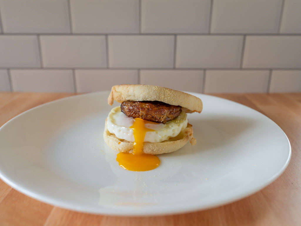 Air fried Jimmy Dean Original Pork Sausage Patties with air fried egg