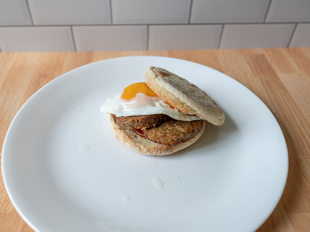 Air fried Beyond Breakfast Sausage with egg