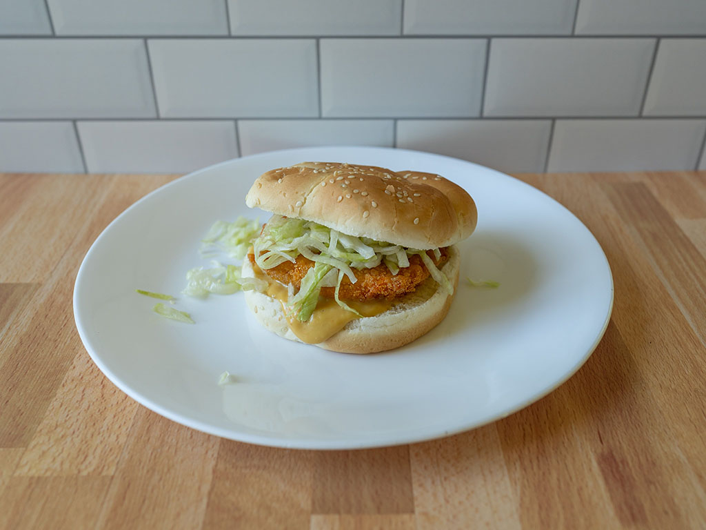Air fried Tyson Frozen Chicken Patty burger with lettuce