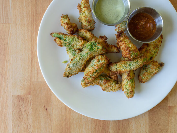 Avocado fries made in an air fryer