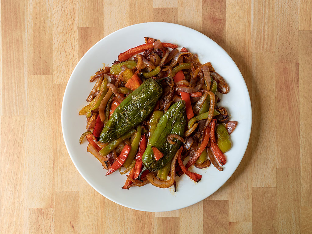Air fried fajita vegetables