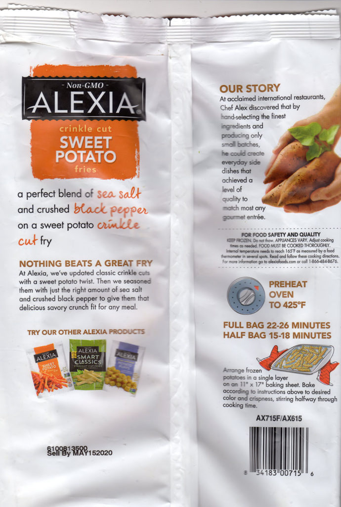 Alexia Crinkle Cut Sweet Potato Fries package rear