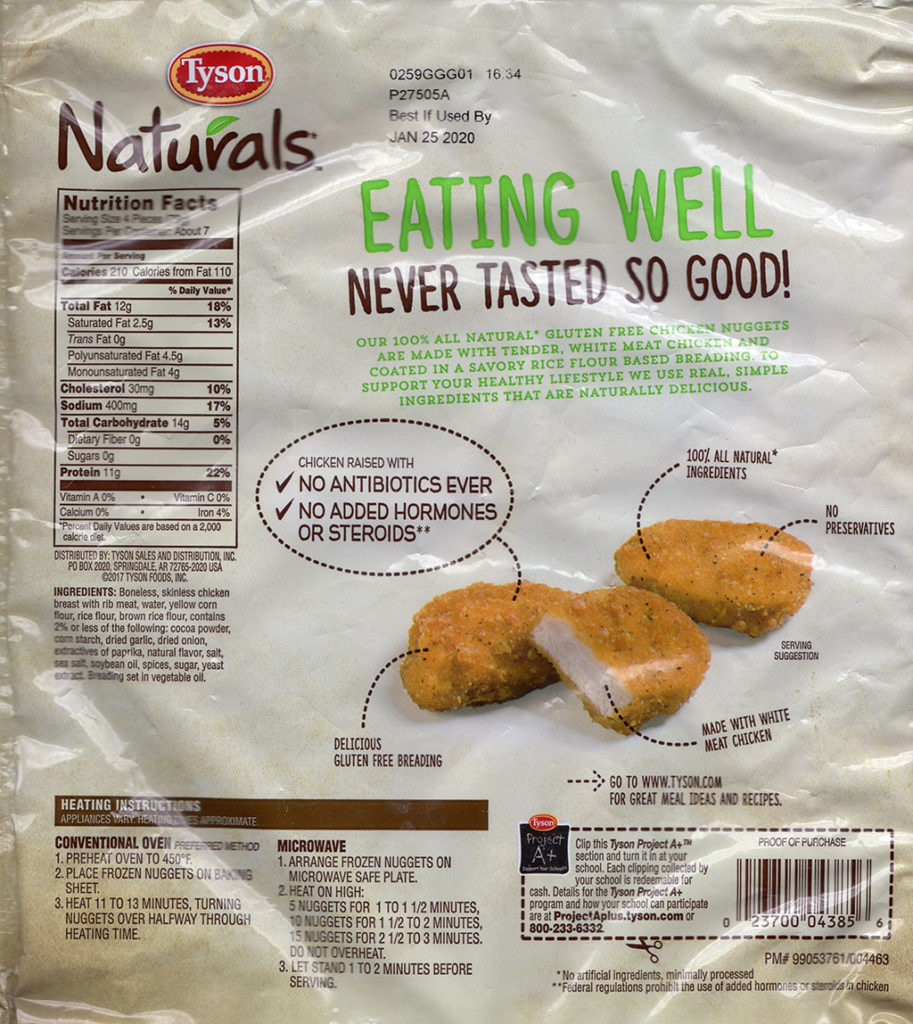 Tyson Naturals Breaded Chicken Breast Nuggets package rear